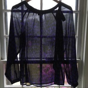LOFT Sheer Long Sleeve Blouse with Tie   S